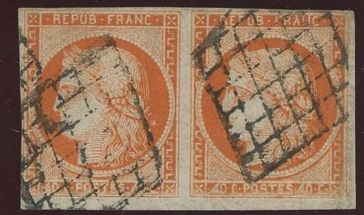 Frankreich 1850 - Very rare pair of 40 cts '4 retouched normal se tenant', Ceres Certificate - Value: 13,500. - Yvert N°5e