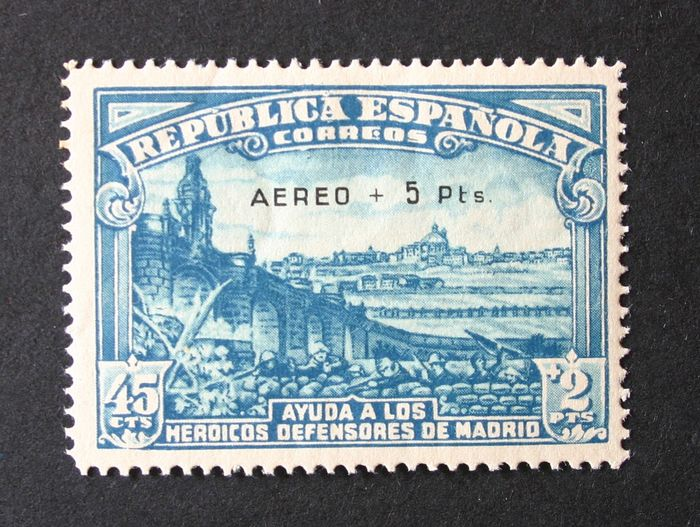 Spanien 1938 - Siege of Madrid. Airmail. Expertised by A. Roig. - Edifil 759