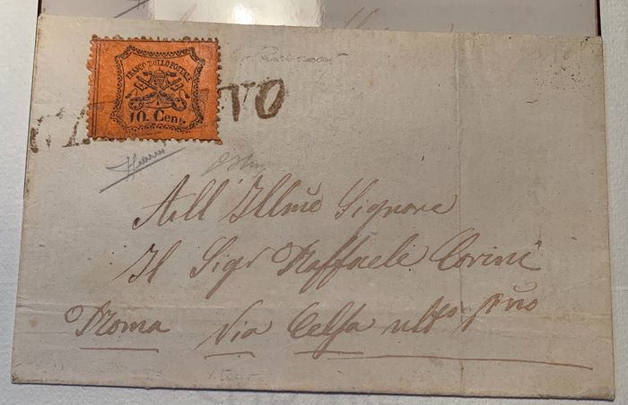 Italienische antike Staaten - Kirchenstaat 1868 - Papal States 1868 letter, 10 cents with Genzano cancellation in brownish red, p. R3, rarity, 3 - Sassone
