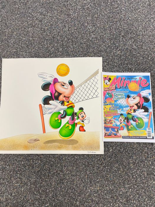 Mickey Magazine - Original Disney Micky and Minnie Maus water color drawing ~Ray Nicholson~ - Unique copy