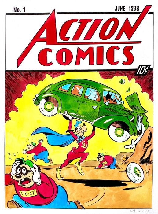 Goofy & The Beagles inspired by Action Comics #1 (1938) - Large Original Painting - Tony Fernandez - 70 x 50 cm