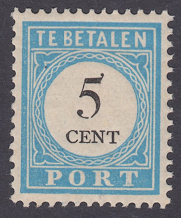 """Pays-Bas 1887 - Postage due numeral and denomination black, with variety """"open frame"""" - NVPH P6fBI"""