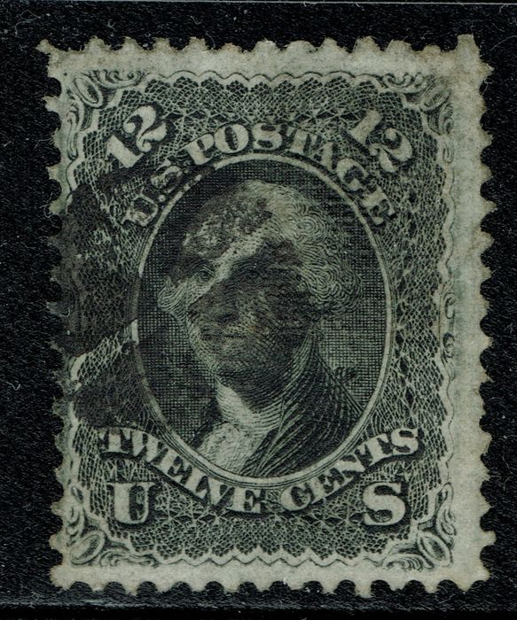 États-Unis - 1867, 12 C, black, Certified and Graded Very Good by PSE. F Grill. - Scott 97