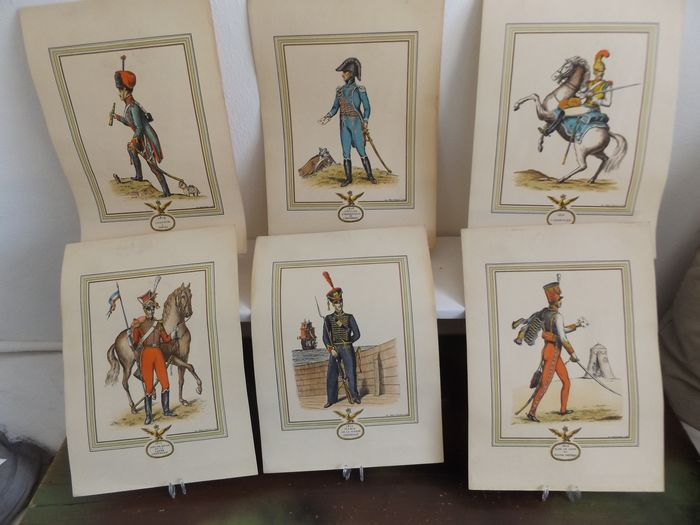 several countries - 27 x Ancient Soldiers Military Old Prints / Lithographs