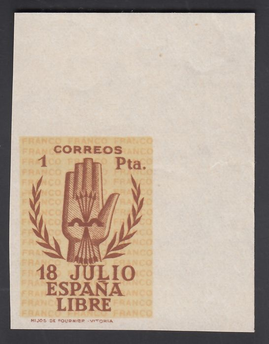 Spain 1938 - Spanish Coup of July 1936, 1 pta, top right corner of sheetlet. Imperforated - Edifil 854s
