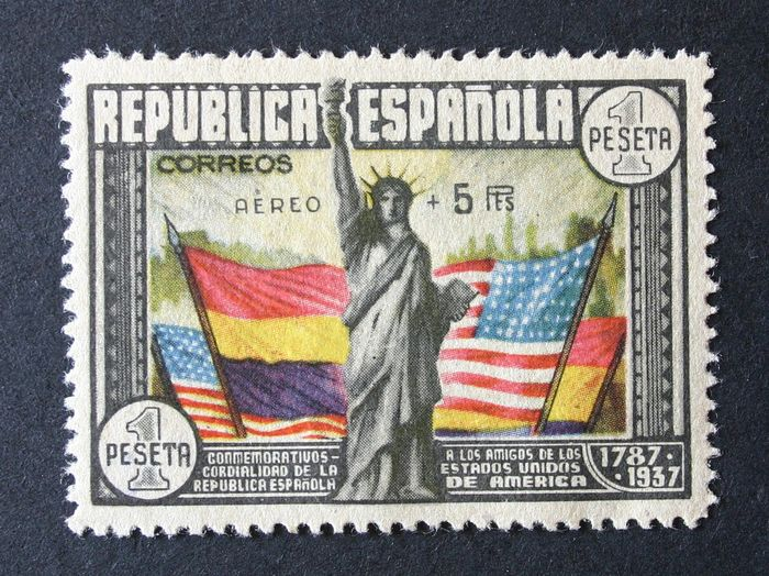 Spanje 1938 - 150th Anniversary of the USA Constitution. Airmail. Graus certificate. - Edifil 765