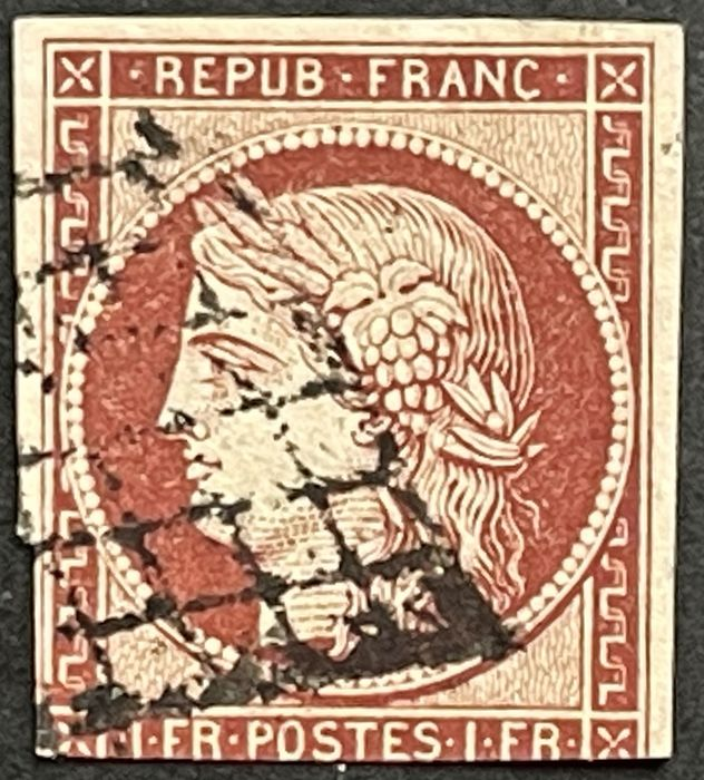 Frankrijk 1849 - Ideally cancelled 1 franc, carmine, very wide margin on 3 sides, touched bottom side - Michel Nr. 7
