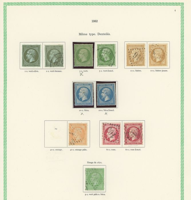 Frankreich 1862/1871 - Lovely set of classic Napoleon stamps with duplicates for shades. Value: over 4,000. - Yvert Entre les n°19 et 35