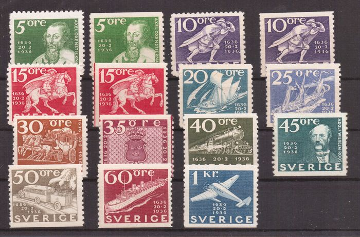 Zweden 1936 - 3rd centenary of the Swedish post office - Unificato 235/246