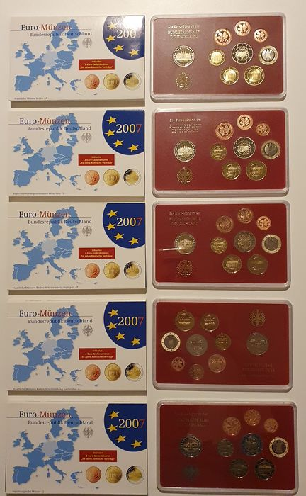 Germany. Proof sets 2007 1 cent tm 1 euro+ 2 euro cc + 2 euro Verdrag v Rome adfgj 5 jaarsets