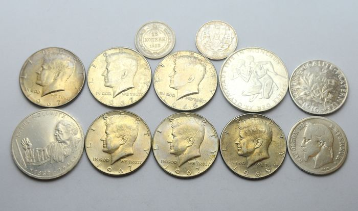 Wereld. Lot various coins 1869/1992 (12 pieces)