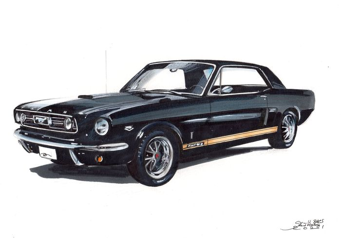 Kuva/taideteos - Ford Mustang Original by Baes gerald - Certificat d'authenticité - Ford, Baes Gerald - 2000-luvun jälkeen