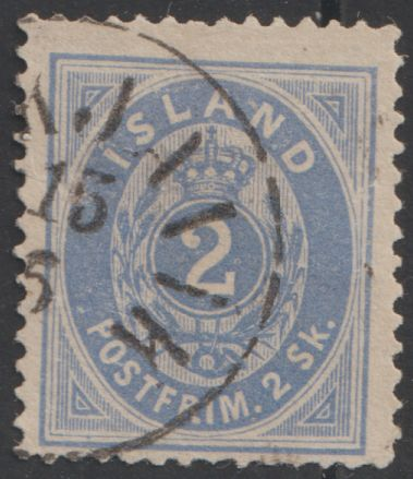 Iceland 1873 - Oval type 2 sk blue - Facit 1