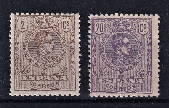 Spanje 1920/1920 - Alfonso XIII medallion type provisional stamps due to the rise in the fees - Edifil 289/290