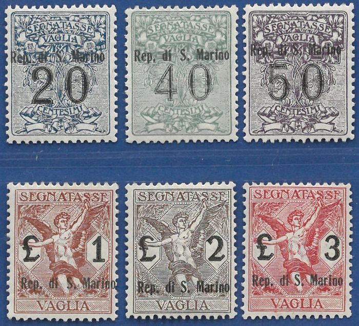 San Marino 1924 - Complete set of overprinted postage-due stamps for postal order - Sassone N. S.901