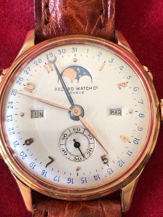Record - Triple Date Moonwatch Gold 18 k - Unisex - 1950-1959