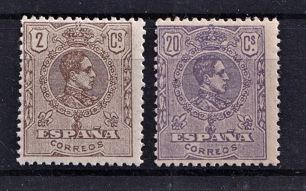 Spanien 1920 - Alfonso XIII, Medallion type. Provisional stamps due to the rise in the fees. - Edifil 289/290