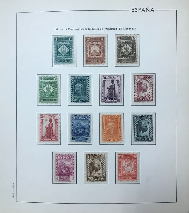 Spanje 1931 - Monastery of Montserrat. Surface post. Complete and well centred set. CEM certificate. - Edifil 636/649