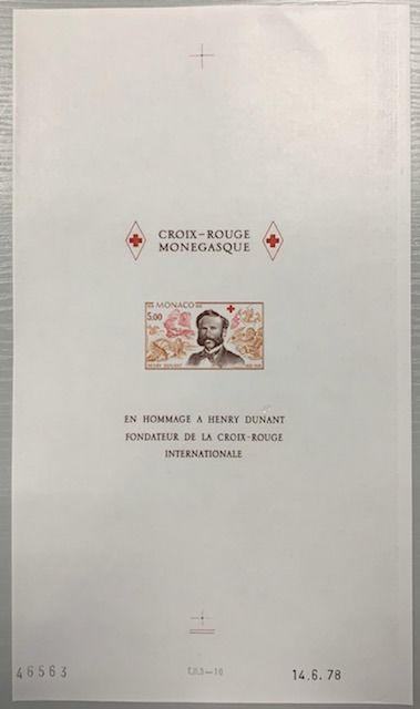 Monaco - Red Cross block, Henri Dunant, imperforate proof in complete sheet, dated and numbered. Rare as 15