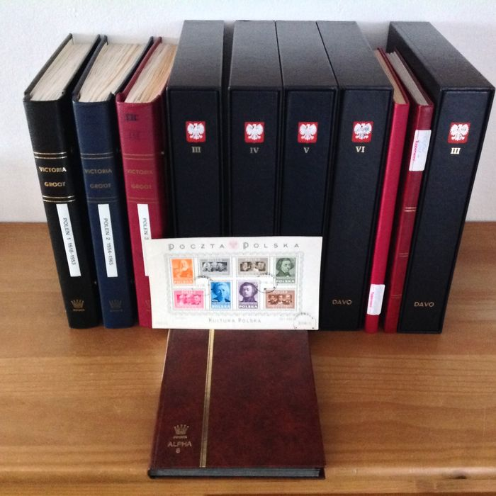 Polen 1919/2019 - Very complete collection in a Victoria, a DAVO and in stock albums with many extras