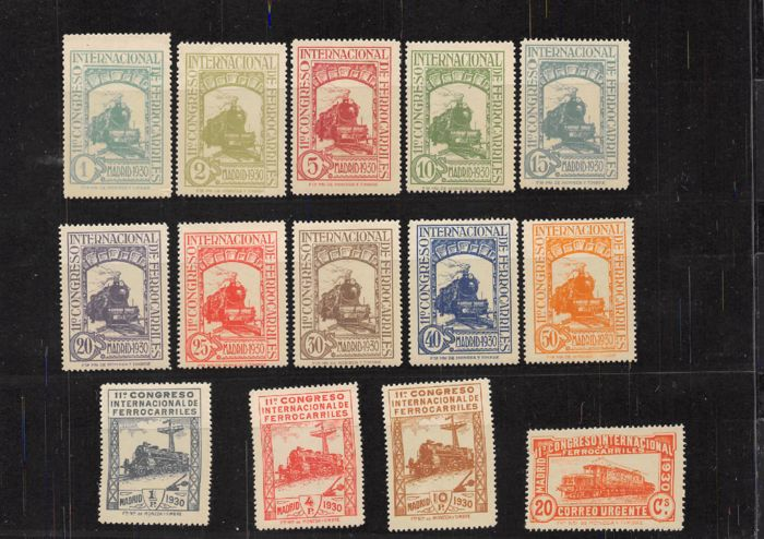 Spanje 1930 - 11th International Railway Congress. Complete and well centred set. CEM certificate. - Edifil 469/482