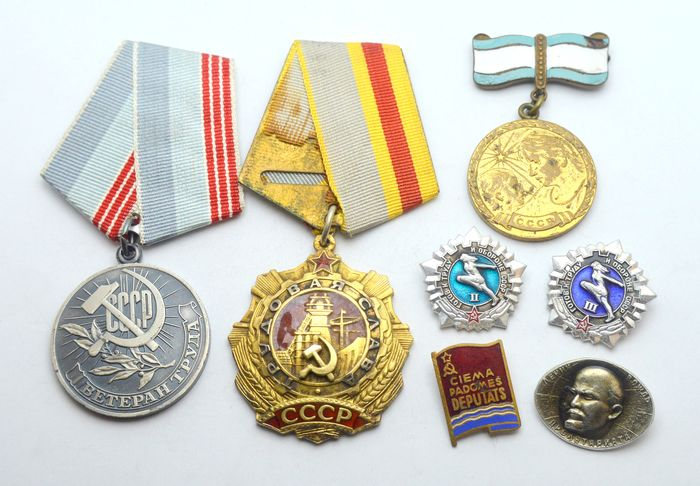 Russia - Silver Labor Glory Order 3rd degree, Veteran of Labor and other pins and medal - Medal