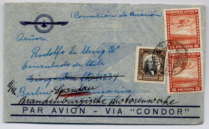 Chile 1937/1938 - Condor ZeppelinL300 - L318 : SS Westfalen catapult : lot of 2 covers to Germany
