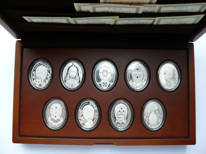 Niue. 1 Dollar 2012 Proof 'Imperial Fabergé Eggs Serie in edler Holz-Schatulle' (9 pieces) in set