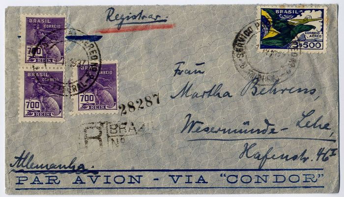Brazil 1937 - Condor Zeppelin: L230 - L260 - L 262 : SS Westfalen catapult : lot of 3 covers to Germany