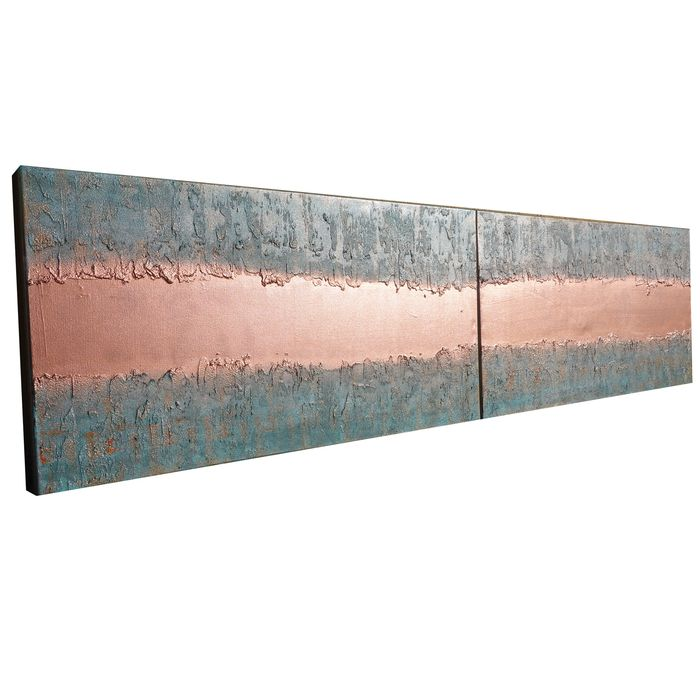 Ksavera - Copper Abstract A738 - Industrial textured diptych (XXL)