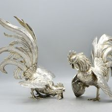 DFRS - Pair of sculpted roosters as table decoration - .830 silver