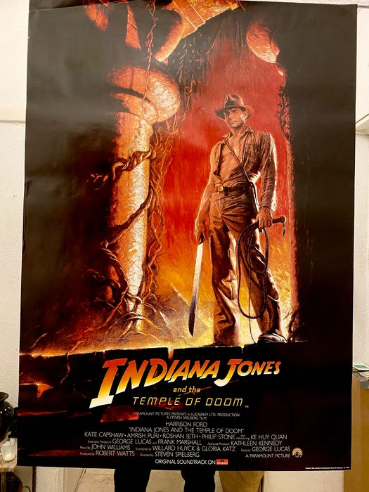 Indiana Jones and the Temple of Doom (1984) - Harrison Ford - Affiche, Vintage - 1984 Promotional Release - Teaser (84x59 cm) / Rolled
