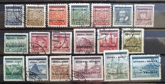 Bohemia and Moravia 1939 - Definitives, signed - Michel 1-19