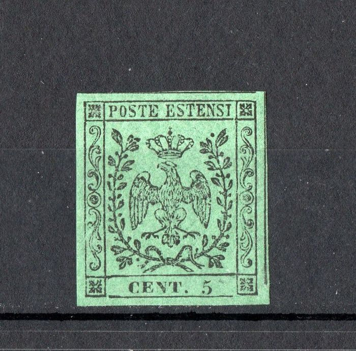 Anciens états italiens - Modène 1852 - 5 cents green without dot after the figures - Sassone N. 1