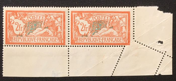 """Frankreich 1907 - Variety, Type Merson, slanted perforation  """"piquage à cheval"""" (mis-perforation) - Yvert 145"""