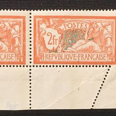 """France 1907 - Variety, Type Merson, slanted perforation  """"piquage à cheval"""" (mis-perforation) - Yvert 145"""