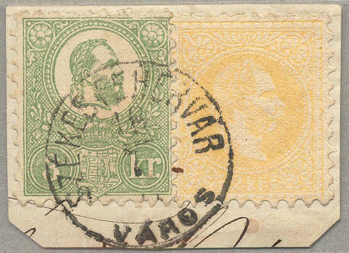 Autriche 1867 - Hungary, mixed franking - ANK 35 II + 3 kr. Ungarn