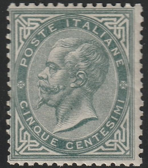 Italien Königreich 1863 - DLR Turin issue 5 c. grey green, fair centring, rare and certified - No Reserve - Sassone N.T16