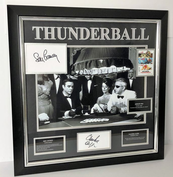 James Bond 007: Thunderball - Sean Connery (+) & Claudine Auger (+) - Foto, Handtekening, Signed Cards with Certified Genuine b´bc holographic COA - Framed Photo Display