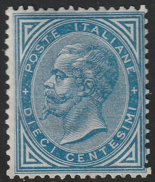 Italy Kingdom 1877 - DLR 10 c. light blue, fairly centred, very rare and certified - No Reserve - Sassone N.27