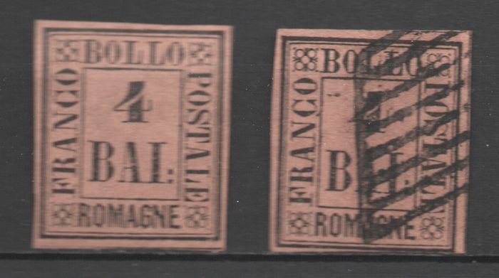 Anciens états italiens - Romagne 1859 - Two pieces of 4 b. tawny - Sassone N. 5