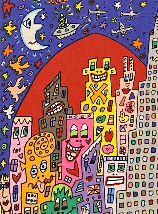 James Rizzi (1950-2011) - THE BIG APPLE IS BIG ON THE EMPIRE STATE BUILDING - original silkscreen, 1999