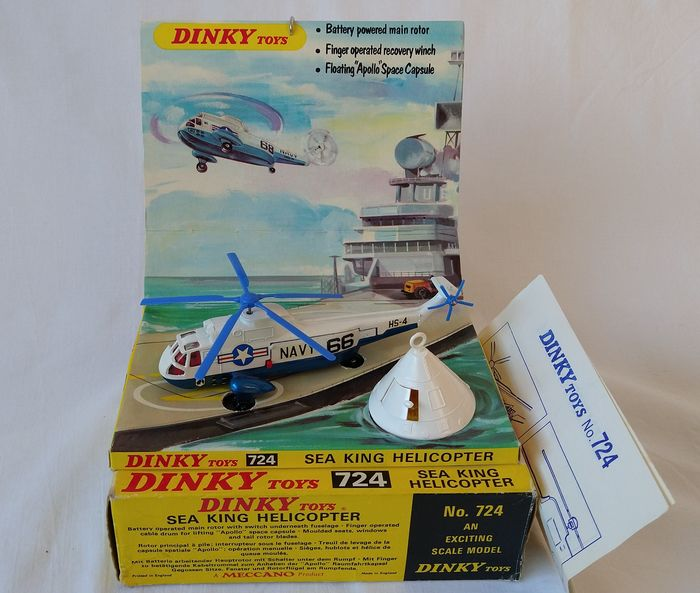 Dinky Toys - 1:43 - Dinky Toys  Sea King Helicopter modelnr. 724 - Met Apollo 13 retour capsule.  Uitgifte:  1971 – 1974