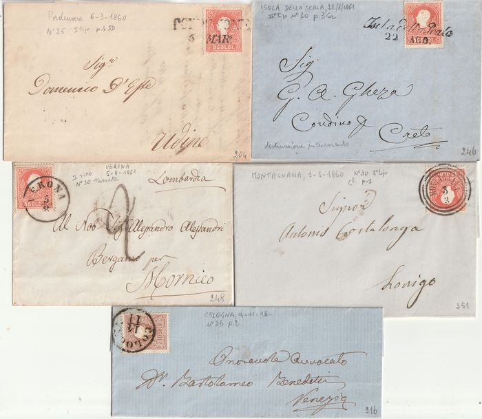 Antikke italienske stater - Lombardo Veneto 1858/59 - 2nd issue Collection of 5 letters with different cancellations - no reserve - Sassone NN.25+30+31