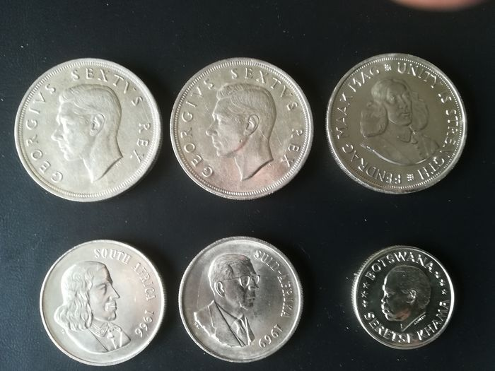 Botswana, South Africa. Lot various coins 1952/1969 (6 pieces)
