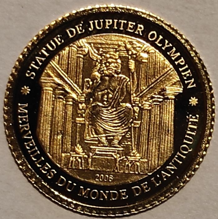 Ivory Coast. 1500 Francs 2006 Proof 'Statue of Zeus at Olympia - Greece' - in original capsule