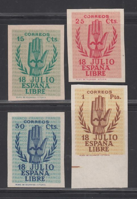 Spain 1938 - 2nd Anniversary Spanish coup in July 1936. Imperforated - Edifil 851s / 854s