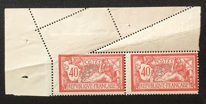 Frankreich 1900 - Merson-type variety in pair with slanting perforation by folding