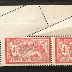 Frankrig 1900 - Merson-type variety in pair with slanting perforation by folding - Yvert 119