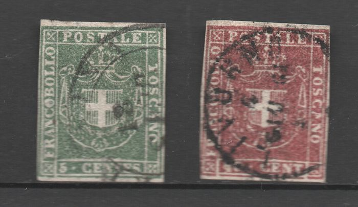 Anciens états italiens - Toscane 1860 - 5 cents and 40 cents Provisional Government - Sassone NN.